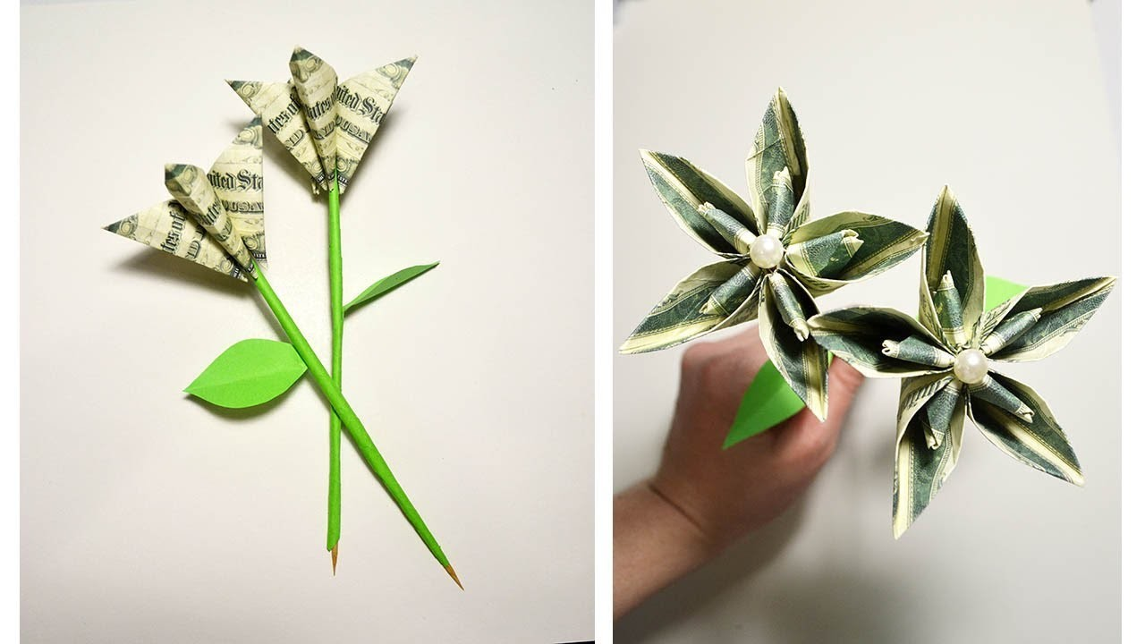 Gift For Valentines Day Money Flower Origami Tutorial Diy No Glue
