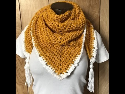 How To Crochet A Triangle Scarf.Shawl