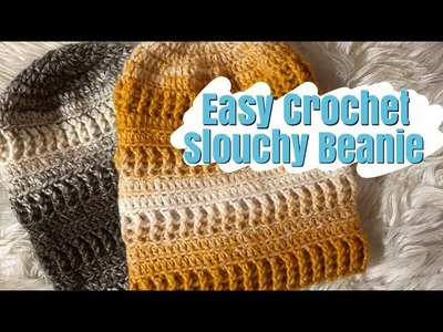 How to Crochet: Top Down Textured, Slouchy Beanie