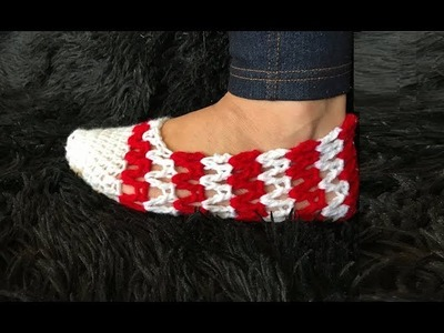 How to Crochet V-Stitch Slippers Pattern #630│by ThePatternFamily