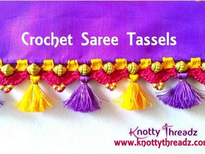 How to do Crochet Tassels on Pure Silk Saree | Kanjeevaram Saree New Design || www.knottythreadz.com