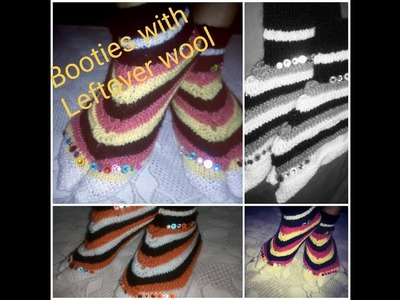How to knit Lady's booties with leftover wool(बची हुई ऊन से बनाए बूट) multitalent