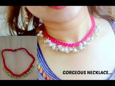 How to make designer necklace#neckppiece#ghungroo#DIY#chiffon.silk thread