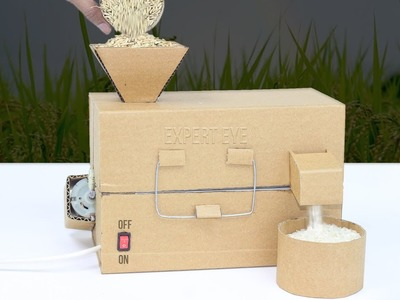 How To Make Mini Rice Mill From Cardboard At Home! DIY Rice Mill