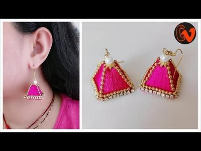 How to make Pyramid Shape Earrings Tutorial .  Silk Thread Earrings