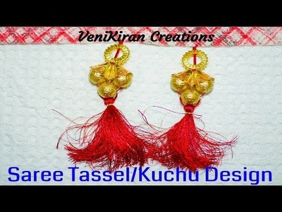 How to Make Saree Tassel.Kuchu design with Beads @ Home - Design 42::Tutorial