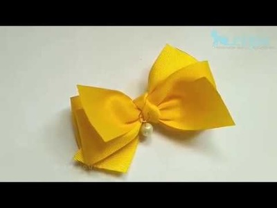 How To Make : Yellow Ribbon Bow with Pearl | DIY by Elysia Handmade