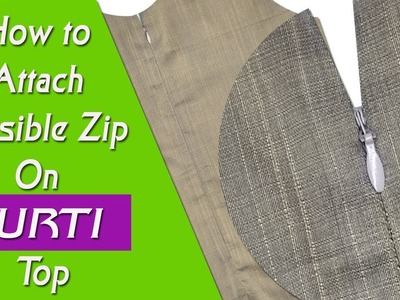 Invisible Zipper Attaching Simple and easy method DIY Hindi tutorial