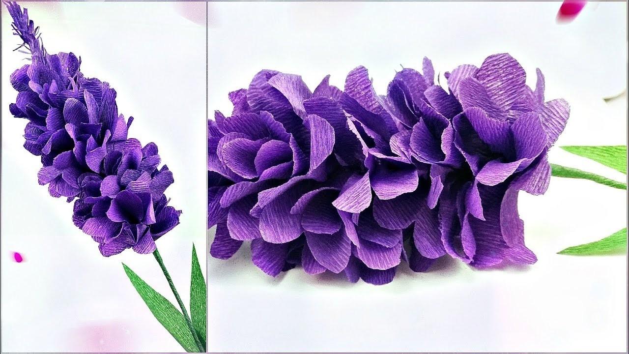 Lavender Paper Flower Making With Crepe Paper Tutorial Diy