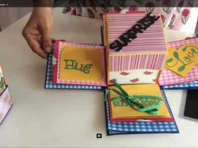 Love birthday explosion box.DIY exploding box. Ideas to make explosion box birthday card for lovers