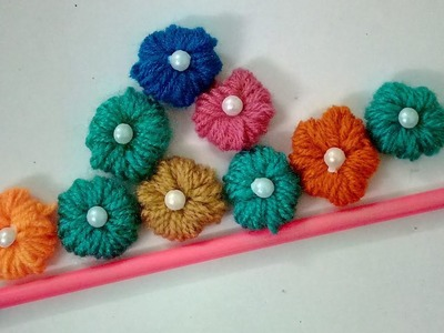 Make Woolen Flowers With Pencil without crochet | CraftLas