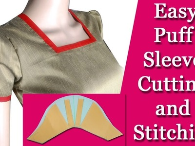 Puff sleeve cutting and stitching malayalam simple,and professional DIY tutorial Easy  for beginners