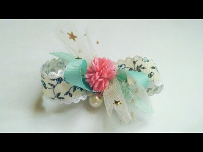 Ribbon Bow With Star Printed Tulle And Pearl | DIY by Elysia Handmade