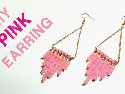 Statement Earrings. Pink Beaded Earring DIY Jewellery Tutorial