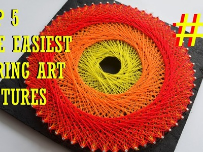 TOP 5 EASIEST STRING ART PICTURES #1 | DIY TUTORIAL | MANDALA IN CIRCLE | 3 COLOURS