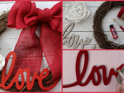 VALENTINE'S DAY DIY WREATH | EASY TO MAKE TUTORIAL | BURLAP STRAW HOW TO