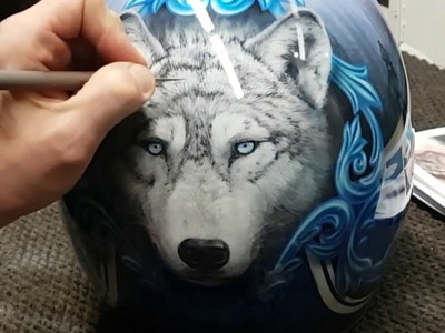 AMAZING Airbrushed Wolf Helmet. In-depth conversation on how I painted this sweet puppy!