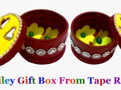 Best out of waste Smiley Gift Box from tape Roll | How to make tape roll smiley gift box