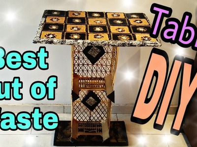 DIY: Best Out Of Waste Stuff. Cardboard Table. Crates Table: How to make: