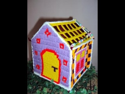 DIY : How to make Plastic canvas house part 2.Plastic canvas projects.woolen house