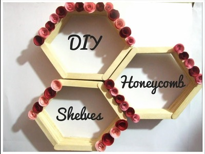 DIY Popsicle stick ideas.How to make a Popsicle Honeycomb shelves at home.DIY Craft Queen❤