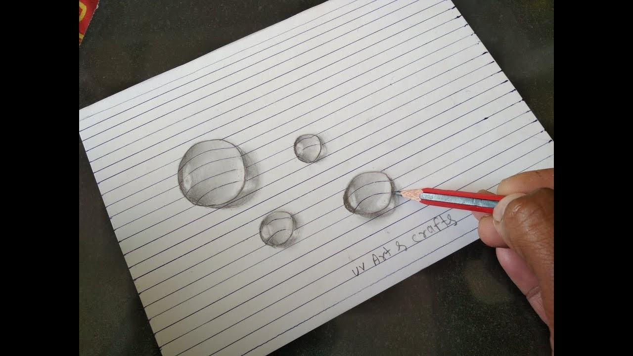 Drawing Water Drops On Line Paper How To Draw A 3d Water Drops