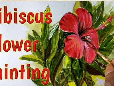 Flower painting| how to draw and paint Hibiscus. China rose(Gurhal) painting in acrylic