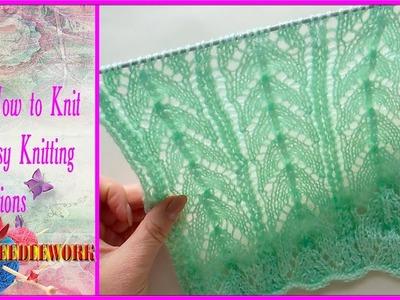Horseshoe lace stitch | Lace Knitting