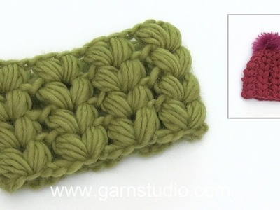 How to crochet puff stitches shaped like hearts.