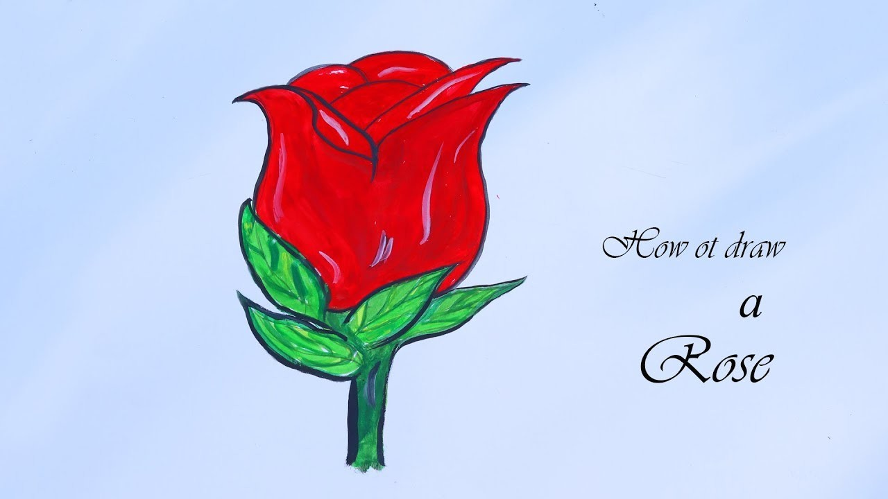 How To Draw And Color A Rose Easy Drawing Tricks For Kids