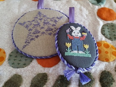 How to finish a cross stitch piece into a round or oval ornament