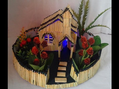 How to Make a Match House Fire at home|DIY Matchstick Fairy House Showpiece