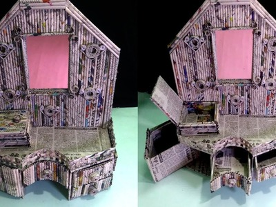 How to make a Mini Dressing table | Organizer | Using Newspaper | Newspaper 19 | All type videyos