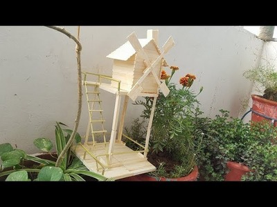 How To Make A Popsicle Stick WindMill House | Easy Make Ice Cream Stick House