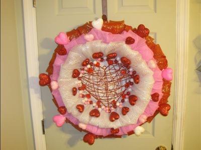 How To Make Carmen's Three Layer Deco Mesh Valentine's Day Bubble Wreath