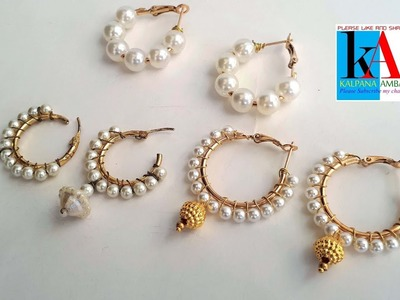 How to make Designer ring model earrings with small pearls. hook earrings making at home