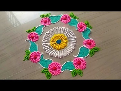 How to make easy and simple.unique border rangoli designs by Jyoti Rathod,rangoli,festival rangoli d