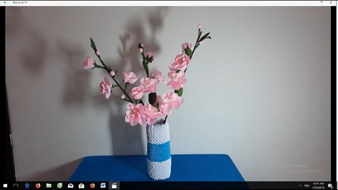 How to make flower vase by 3d origami Làm lọ hoa origami 3d hoa anh đào giấy nhún