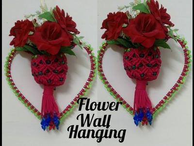 How to make . flower wall hanging .at home beautiful design . Nisha bhati macrame art