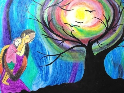 How to make Mother and child painting | oil pastels painting |❤️