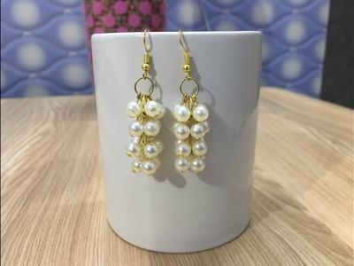How to make Pearl Cluster earrings | make easy pearl earrings