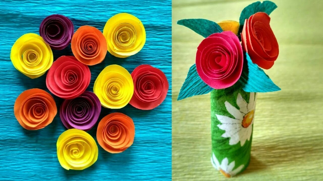 How To Make Small Rose Flower With Paper Making Paper Flowers Diy