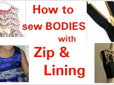 How to sew bodice with zip and lining