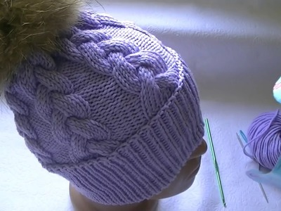 Knitting a hat with a pattern - a braid of 12 stitches