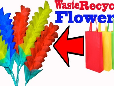 Recycled Shopping Tote Bag Turmeric Flower || How To Make Stick Flower At Home