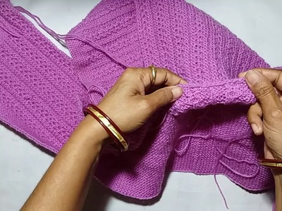 Single colour jacket knitting design - part -5(collor making with needle )