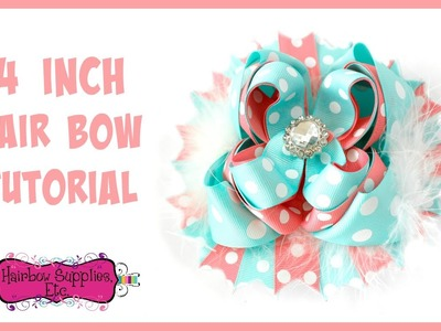4 inch Hair Bow with 7.8 inch Ribbon Tutorial - Hairbow Supplies, Etc.