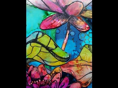 Colorful lily's with alcohol ink