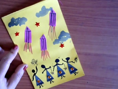 Easy Diwali Greeting Card For Kids | Easy Paper Craft | Homemade Diwali card