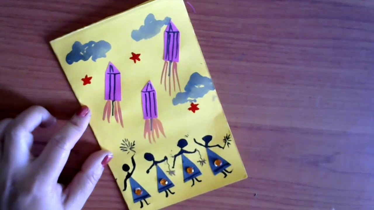 Easy Diwali Greeting Card For Kids Easy Paper Craft Homemade